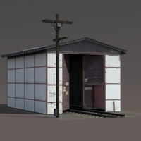 Train Building Low Poly 3d Model