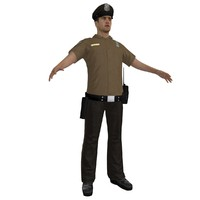police officer 3d obj