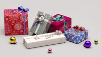 christmas boxes holiday 3d model