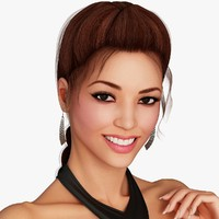 3d asian woman character