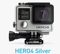 camera gopro hero4 silver 3d model