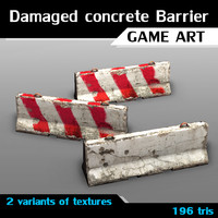 3dsmax variants damaged concrete barrier
