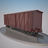 railroad cargo boxcar 3d model