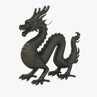 3d model ancient dragon statue