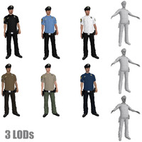 rigged police officers lod 3d model