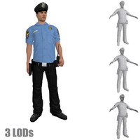 rigged police officer s 3d max