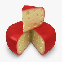 gouda cheese wheel red 3d model