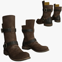 3d model brown leather boots