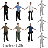3d police officers model