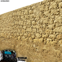 mud brick wall 3d model
