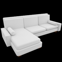 3d l-shaped couch sofa uv model