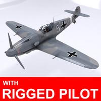pilot messerschmitt bf-109 3d 3ds