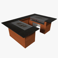 hibachi grill table 3d model