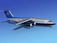 3d model bae 146 united airliners