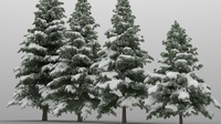 high poly snowy pine trees