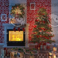 max christmas fireplace