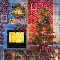3d christmas fireplace model