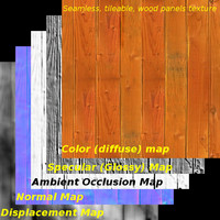 Seamless wood panels texture 1 (5 maps, tileable)