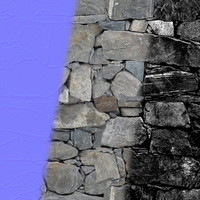 Dry Stone Wall 1 (Tileable, seamless; Diff + Spec + Norm)