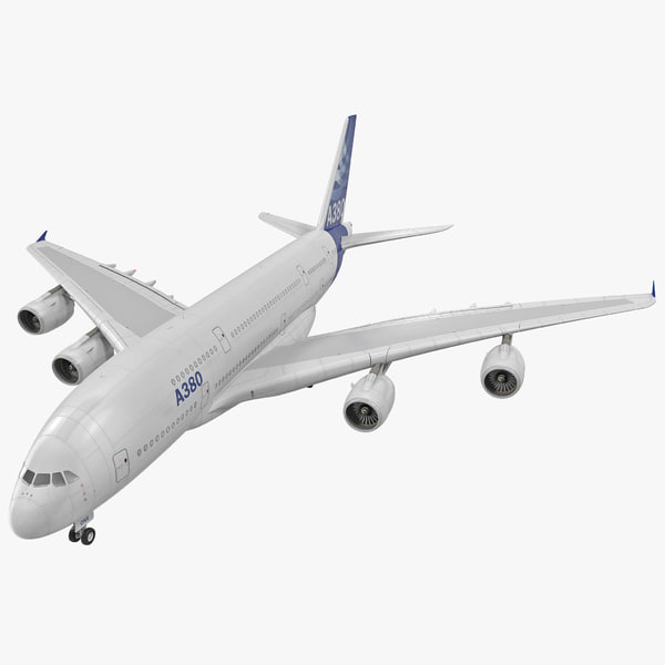 3Jet Airliner Airbus A380 Rigged double deck double-deck passenger plane airplane airline vray