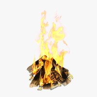 3d model fireplace firewoods coal