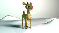 rudolf reindeer cartoon 3d model