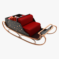 3d model christmas sleigh