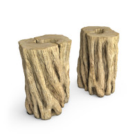 3d model hudson teak stumps end table