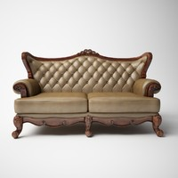 European classical Three people a leather sofa