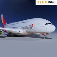 3d model a380 asiana airlines