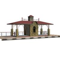 house train stop 3d model