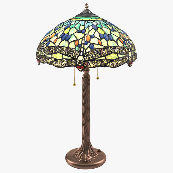 Tiffany Lamp desk table household house light fixture lighting furniture boutique vintage old retro antique vray stained glass luxury