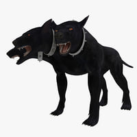 3d model three-headed dog cerberus rigged