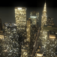 manhattan district 02 night 3d max