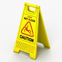 3d model wet floor sign