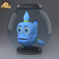 3d model blue cartoon fish