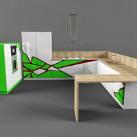 modern hi-tech kitchen set 3d 3ds