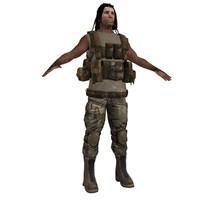 3d model tribe warrior