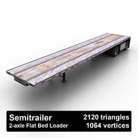 flat bed loader semitrailer 3d max