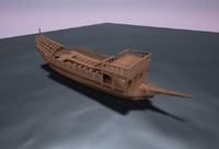 3d galley historical boats model