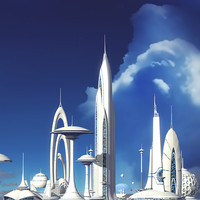 futuristic sci-fi buildings 3d model