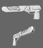 sci-fi blaster pistol obj