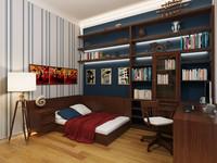 3d model of interior boy bedroom