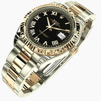 rolex datejust ii black 3d model