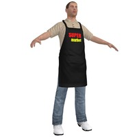 3d model supermarket worker man