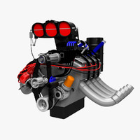 engine fuel dragster 3d model