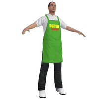 supermarket worker 1 man 3d model