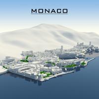 3d monaco cityscape model