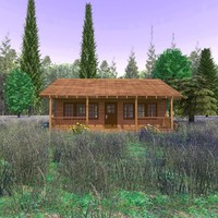 3ds wooden cabin country scene