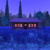 maya wooden cabin country scene